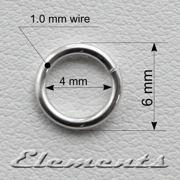 Sterling Silver 6mm Jump Rings 1.0mm Wire